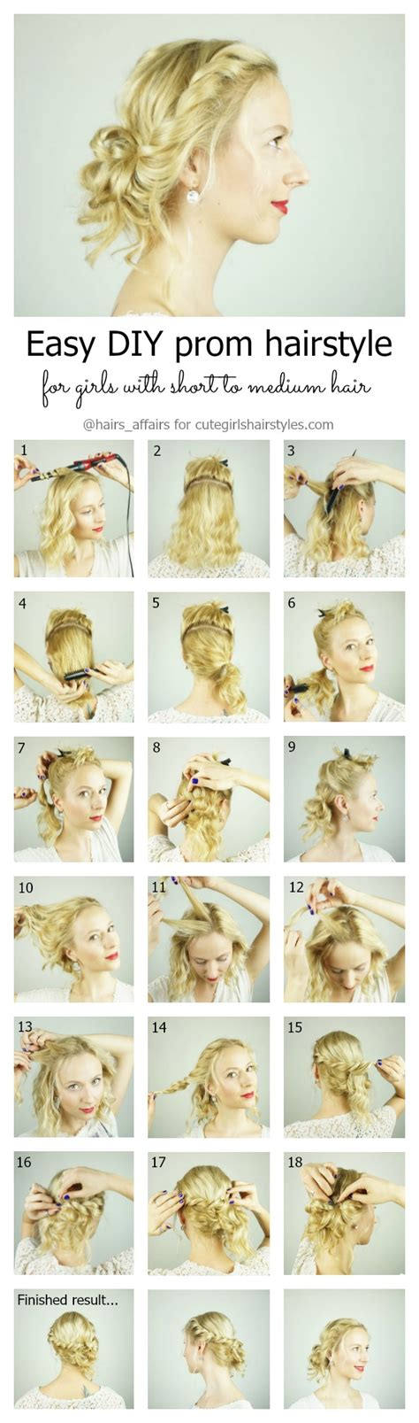 instructions on how to do a curly dressy chin lenght hairstyle easy diy prom hairstyle for girls with short to medium