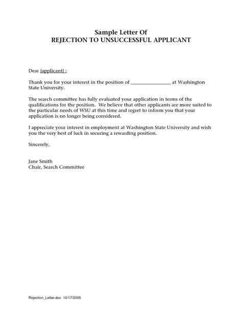 Employment Rejection Thank You Letter Best Photos Of Thank You Letter Rejection