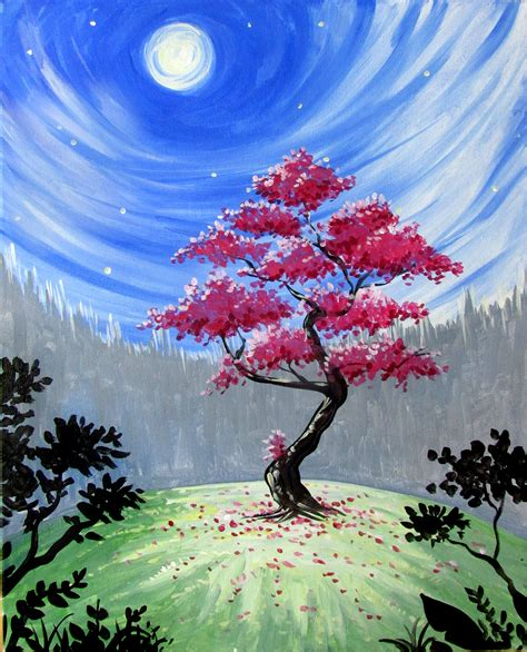 spring painting ideas learn to paint mystical red tree