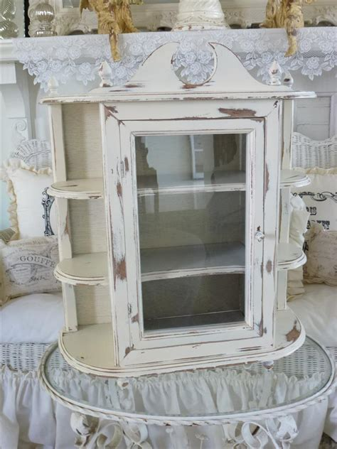 white curio wall cabinet large vintage country farmhouse wall curio cabinet shelf