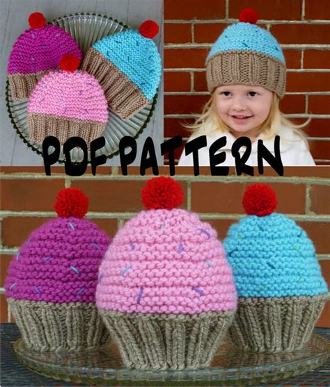 knitting pattern youth hat instant download cupcake hat knitting by bopeepsbonnets on