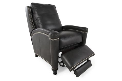 nailhead recliner nailhead trimmed contemporary recliner in black mathis