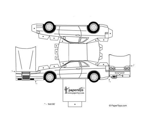 black and white car paper model templates gt recortable coche nissan imprimir colorear y recortar