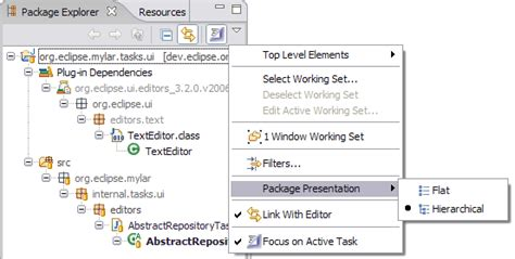 eclipse theme package explorer hierarchical layout in package explorer