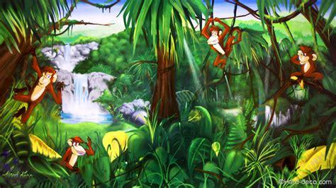 Disney Princess Castle Wall Mural fresque jungle enfant singe dans la jungle un coin de