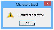 Excel Document Not Saved Error