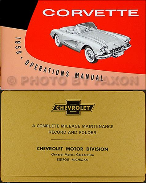 free auto repair manuals 1959 chevrolet corvette user handbook 1959 corvette owners manual with envelope 59 owner operations guide book chevy ebay