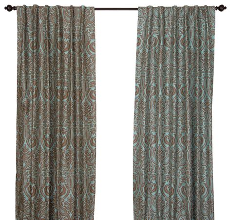 contemporary print curtains silk all over print steel blue curtain panel