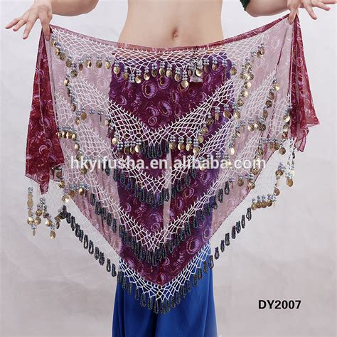 triangle tribal printed crochet beaded belly coins