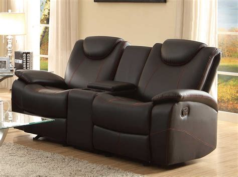 loveseats with console homelegance talbot double glider reclining love seat with