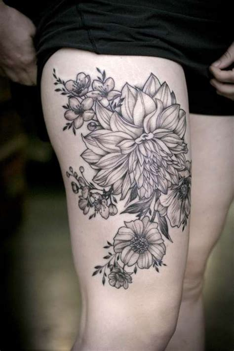 flower thigh tattoo black ink flower thigh shortlist
