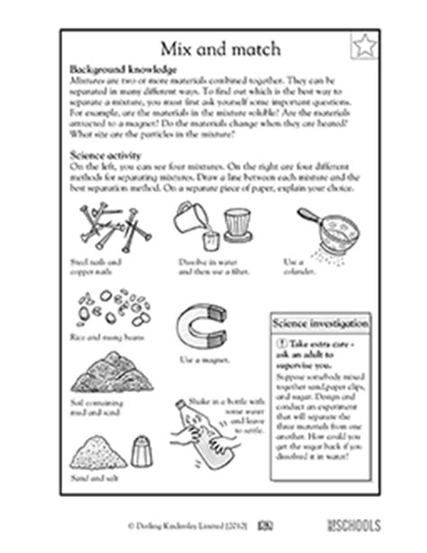 Separation Of Mixtures Worksheet by 3rd Grade 4th Grade Science Worksheets Separating