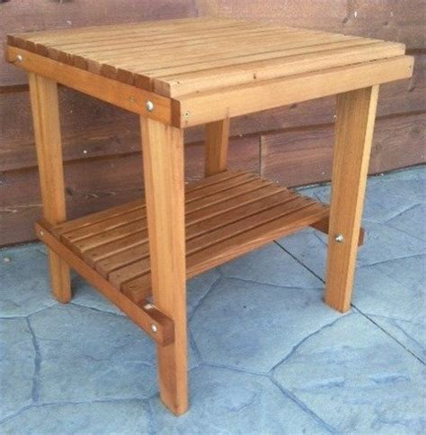 Cedar Patio Table Cedar Side Table With Shelf Stained Finish Amish Crafted Tables Patio And Furniture