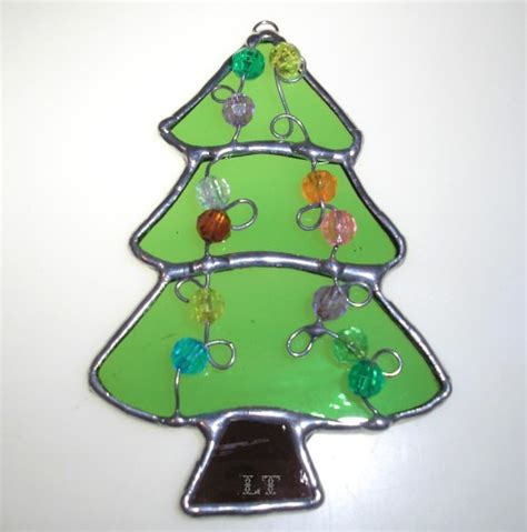 ly green small christmas tree sun catcher ornament stained