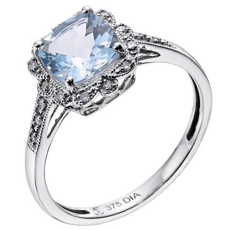 9ct white gold vintage style aquamarine ring