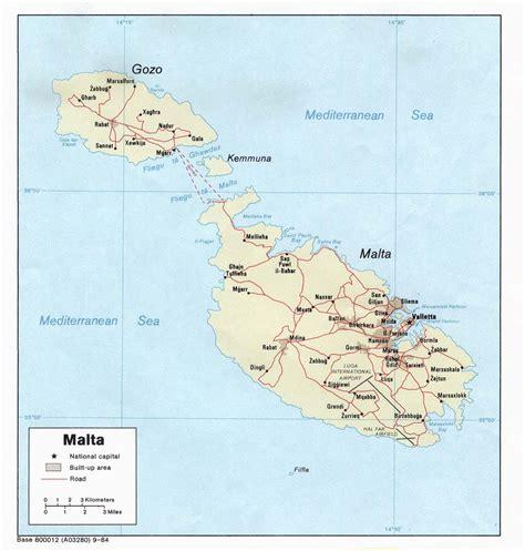 printable road map of malta road map of malta malta road map vidiani com maps of