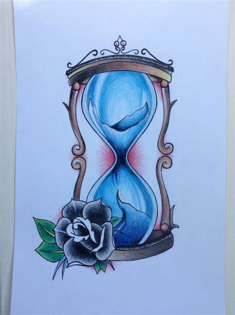 hourglass tattoo design colored pencil by thedilatedeye