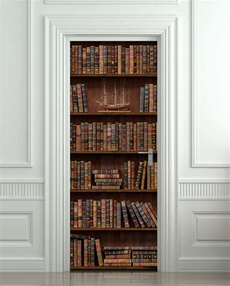 door wall sticker bookshelf with antique books poster from
