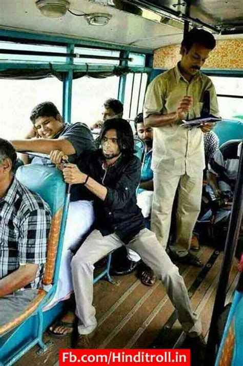 funny bus travel photo awakard moment  india