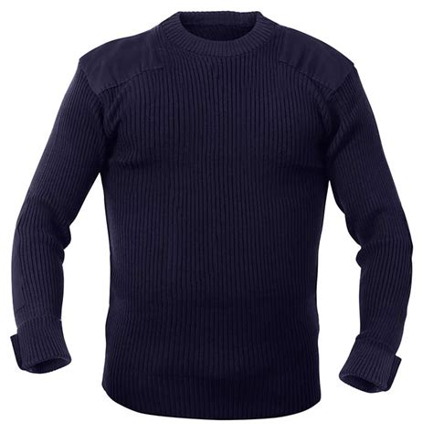 Sweater Loreng Gurun Sweater Army navy blue acrylic crew neck commando sweater