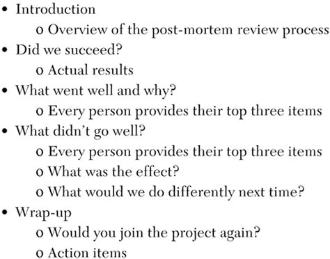 post mortem review template chapter 11 post mortem how will we improve the next