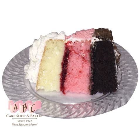 chocolate strawberry vanilla 1678 neapolitan layered cake abc cake shop bakery