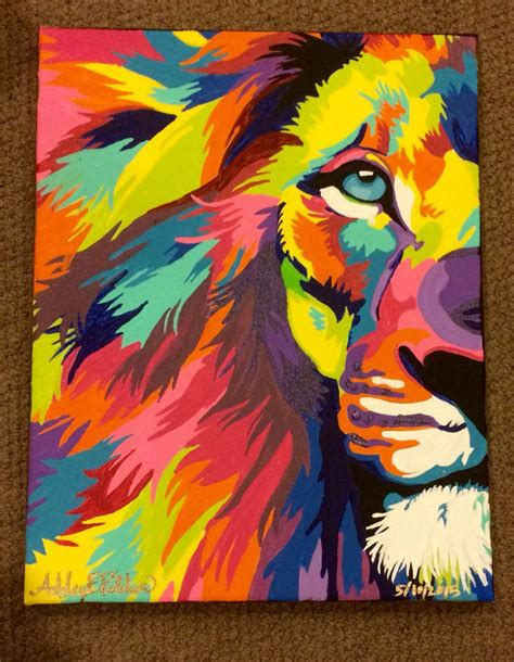 watercolor lion tutorial 11x14 quot acrylic on canvas colorful lion abstract painting