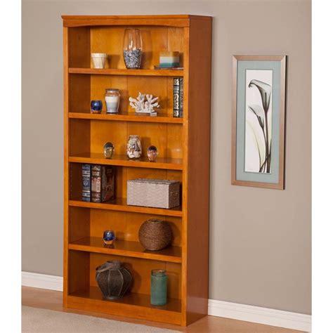 atlantic furniture harvard 6 shelf bookcase in caramel