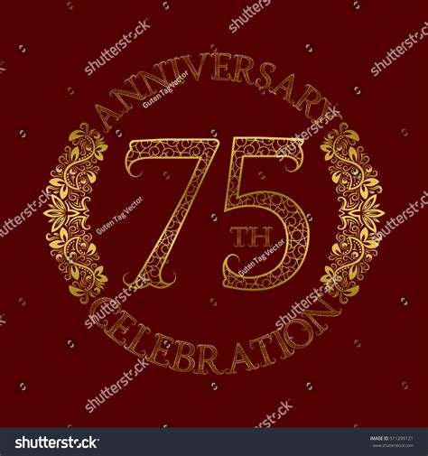 75th wedding anniversary symbol 75th anniversary celebration vintage patterned logo stock