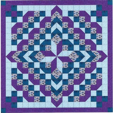 sewing pattern and fabric kits easy quilt kit faceted star purples and aquas pre cut