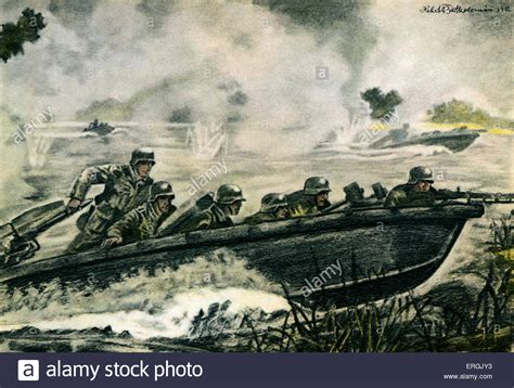 war boat drawing german pioneer troops attacking in an assault boat during