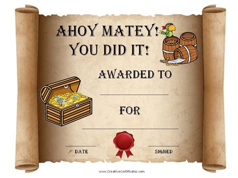 pirate certificate template pirate certificates