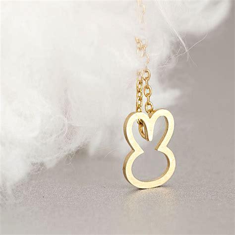 gold bunny necklace animal rabbit charm whimsical on luulla