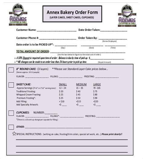 19 bakery order templates free sle exle format