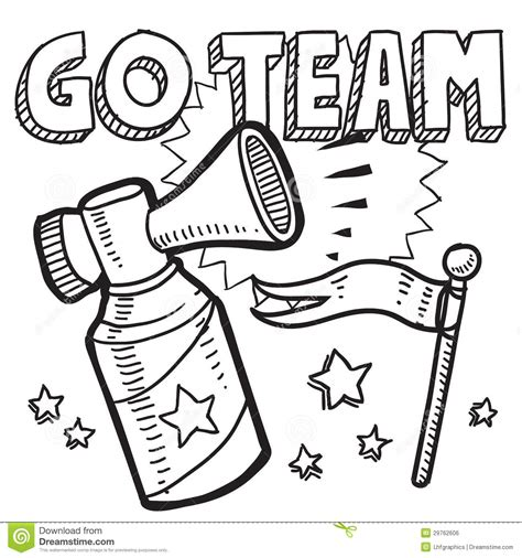 doodle trainer free go team sports air horn sketch stock vector illustration