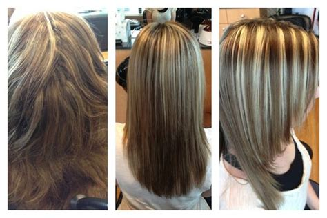 keratin treatment on layered hair keratin treatment brown hair and chunky blonde highlights