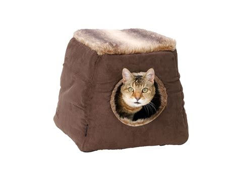 cats beds faux suede and arctic fox fur 2 in 1 cat bed by house of