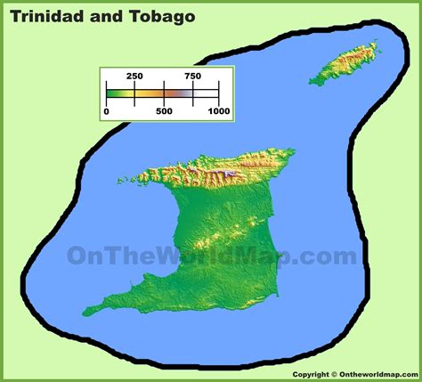 and tobago on the world map and tobago physical map