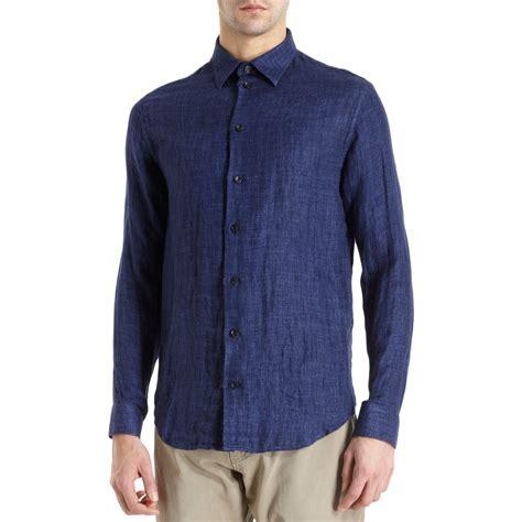 Linen Shirt armani linen shirt in blue for indigo lyst