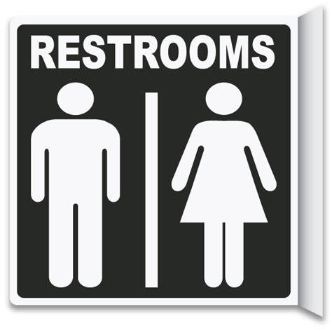 bathroom door sign 2 way restrooms sign by safetysign com t4336