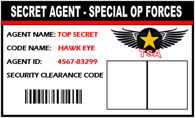 printable spy id cards secret agent spy id badge give everyone at your spy