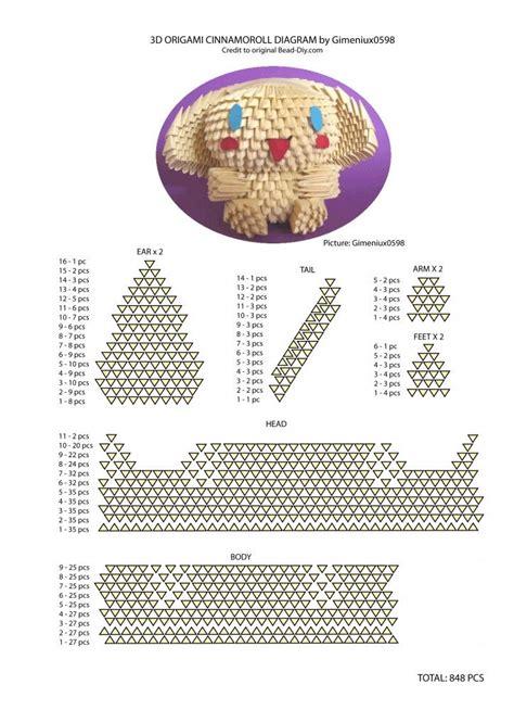 3d Origami Diagram - sanrio cinnamoroll diagram 3d origami