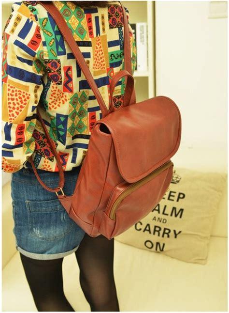 Tas Ransel Bahan Pu Warna Polos jual tas ransel kuliah fashion wanita vintage warna coklat
