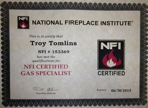National Fireplace Institute by Certifications The Place