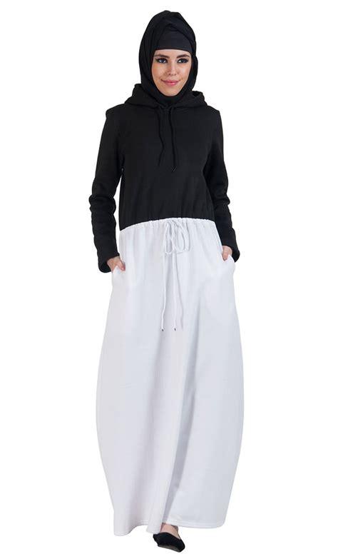 Hoodie Arabian Jilbab colorblock fleece hoodie abaya