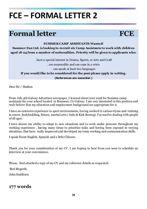 Formal Letter Format Cie Fce Cae Real Writing Exles