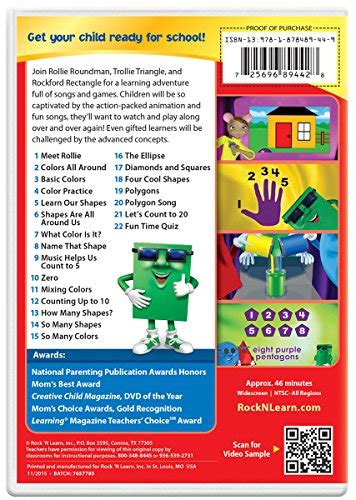 colors dvd colors shapes counting dvd by rock n learn buy