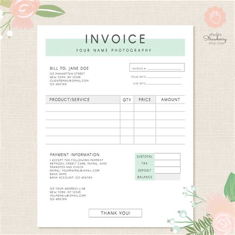 receipt design template psd invoice template photography invoice business invoice