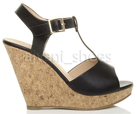cork high heel sandals womens high heel cork wedge platform summer t bar