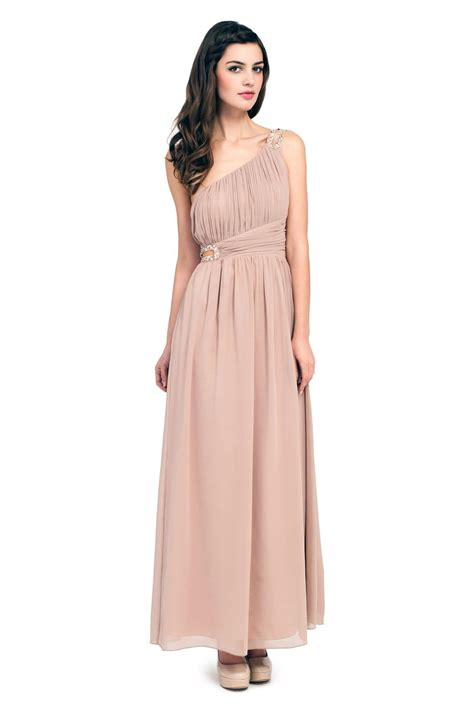 Maxi Mocca mocha one shoulder embellished maxi dress